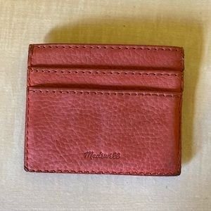 Madewell Leather Card Case in Natural Red